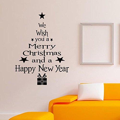 Xinantime Window Sticker, Xinantime Christmas Tree Letters Stick Wall Art Decal Mural Wall Sticker