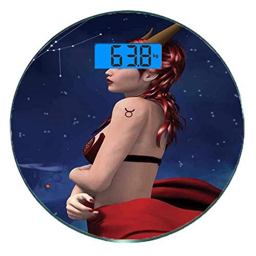 Digitale Präzisionswaage für das Körpergewicht Runde Astrologie Ultra dünne ausgeglichenes Glas-Badezimmerwaage-genaue Gewichts-Maße,Taurus Girl mit Hörnern Maleficent Zodiac Stars Venus-Schönheits-Gr