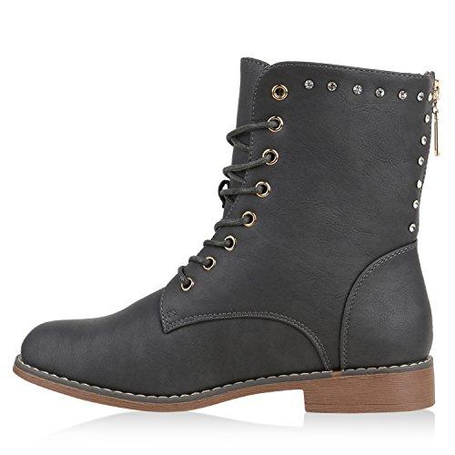 Damen Stiefeletten Boots Schnürstiefeletten Zipper Strass Schuhe Grau
