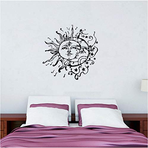 Sonne Mond Sterne Wandtattoos für Schlafzimmer - Sonne und Mond Wandtattoo ethnischen Dekor - Sun Moon Crescent Decals Bohemian Boho Fashion 57Cmx57Cm - Sterne Mond Badezimmer Und Sonne