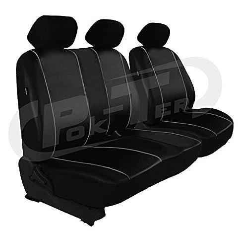 Für Ford CUSTOM Sitzbezug Fahrersitz + 2er Beifahrersitzbank in ECO-Leder schwarz