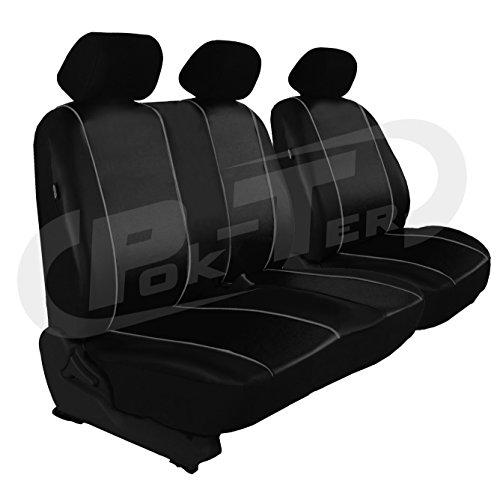 POK-TER-TUNING Maßgefertigter Sitzbezug für Crafter II ab 2017. Fahrersitz + 2er Beifahrersitzbank (Lehne geteilt) Kunstleder. Farbe SCHWARZ