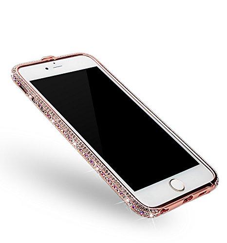 iPhone 6s Hülle, iPhone 6 Hülle, Vandot Handgefertigt Luxus Glitzer Diamant Bling Aluminium Bumper für iPhone 6 6s Schutzhülle Metall Rahmen Stoßdämpfung Kratzfeste Innerhalb PC Hart Handmade Frame Ha Pink Lila