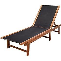 vidaXL Chaise Longue Meuble de Jardin terrasse en Bois d'Acacia Bain de Soleil
