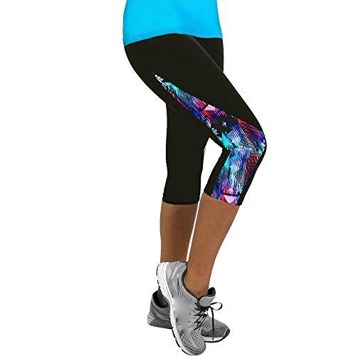 CAOQAO Damen antibakteriell Floral Sport Yoga Fitness Leggings Gym 3/4 Slim Cropped Hosen Haremshose Pilates Hosen Floral Capri Cropped Pants