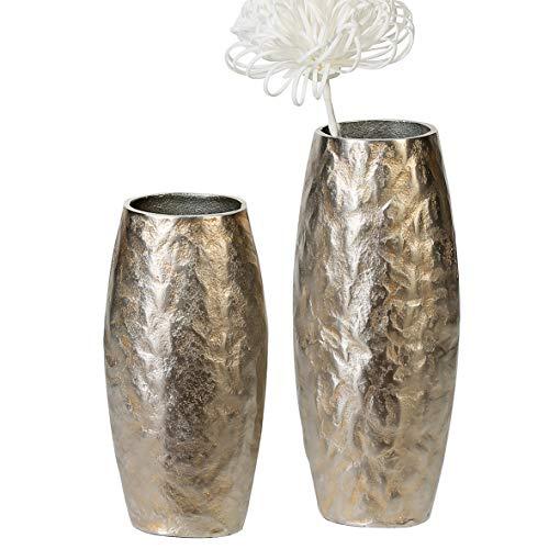 Casablanca Vase Dents Alu,antik-Champagner H.28 cm mit Grober Oberflächenstruktur BxHxT 13 x 28 x 9