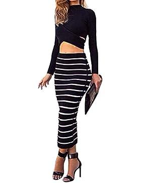 Mujer Cintura Alta Faldas Largas De Tubo Falda Delgado De Rayas Vestidos De Fiesta Negro S
