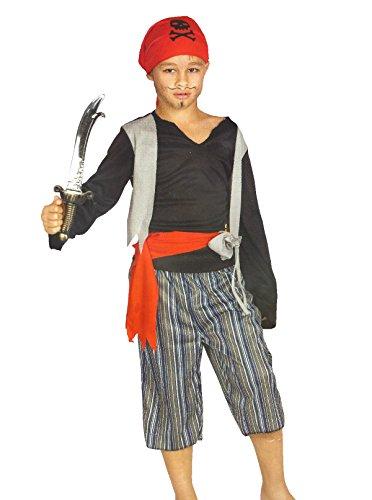 Cat Black Kostüm Kind - Black Cat Pirat Kinder Kostüm Karneval Fasching Seeräuber Schwert Piratenkostüm Halloween (104)
