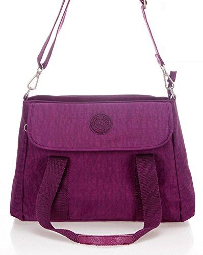 Keshi Nylon neuer Stil Damen Handtaschen, Hobo-Bags, Schultertaschen, Beutel, Beuteltaschen, Trend-Bags, Velours, Veloursleder, Wildleder, Tasche Lila 1