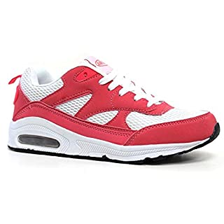 Ladies Running Trainers Air Tech Womens Shock Absorbing Fitness Gym Sports Shoes Size 3 4 5 6 7 8 (8 UK, Coral / White)