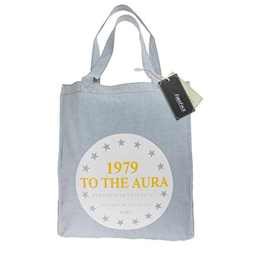 FakeFace 2015 Neue Art Jeansstoff Damentasche Robuste Schultertasche für Shopping Freizeit Casual Henkeltasche Lady Bag Einkaufstasche Shopper (Tigerkopf Dunkelblau) Sterne Hellblau