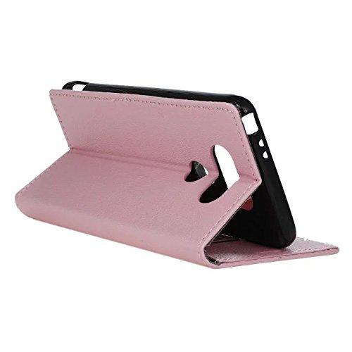 LG G5 Case, Einfarbig Kas Textur Muster Leder Schutzhülle Case Horizontal Flip Stand Hülle mit Kartensteckplätzen für LG G5 ( Color : Purple , Size : LG G5 ) Pink