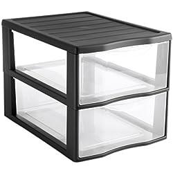 SUNDIS 4219029 Tour de Rangement Format A4 2 tiroirs avec Poignée Ergonomique et Système d'Arrêt à l'Ouverture, Plastique, Noir