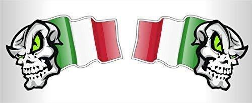 Mani Coppia Italia il Tricolore Bandiera Teschio Mascotte Vinile Auto Moto Casco Adesivi Decalcomania Piccolo 50mm Largo