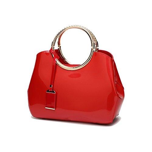 Coolives Damen mit Langer Schultergurt PU Lack Leder Golden Ring Griff Abendtasche Rot