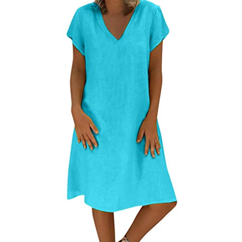 XuxMim Damen Ärmelloses Beiläufiges Strandkleid Sommerkleid Tank Kleid Ausgestelltes Trägerkleid Knielang(Blau-1,XXXXX-Large)