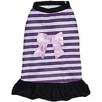 Traje del Verano del Perro Pet Fashion Mangas de Camiseta a Rayas Falda de Princesa Bowknot Vestido de algodón Suave Camisa Chaleco