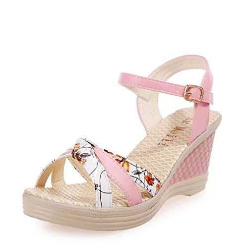 Produktbild Vovotrade Damen Comfort Wedges Frau Keile Schuhe Sommer Sandalen Plattform Zehe Hochhackig Schuhe (EU Size:41,  Rosa)
