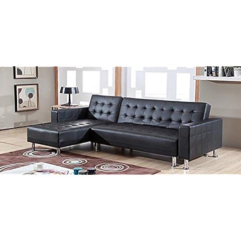 Reversibile divano ad angolo convertibile nero finta pelle - Capri