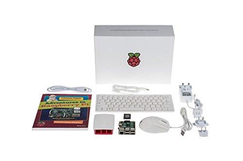 offizielles Raspberry Pi 3 Model B Starter Kit (Raspberry Pi 3 Model B aus EU Fertigung, microSDHC Karte mit noobs, offizielles 2.5A Netzteil, offizielles rot/weiß Gehäuse, HDMI Kabel, USB Tastatur & Maus, Raspberry Pi Buch)