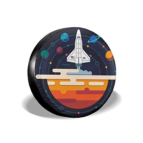 Funny&shirt Space Planets Solar System Rocket Science Technology Polyester Universal Spare Wheel Tire Cover Wheel Covers Jeep Trailer Rv SUV Truck Camper Travel Trailer Accessories 14 Inch