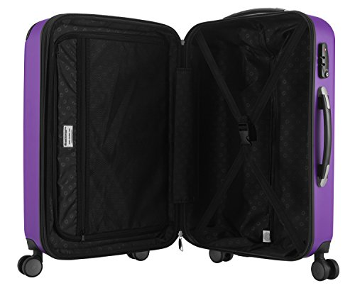 SALE% HAUPTSTADTKOFFER® Hartschalen Koffer SPREE 1203 · 3 Koffergrößen (49Liter · 82Liter · 128Liter) · MATT · TSA Zahlenschloss (49 Liter, Violett) -