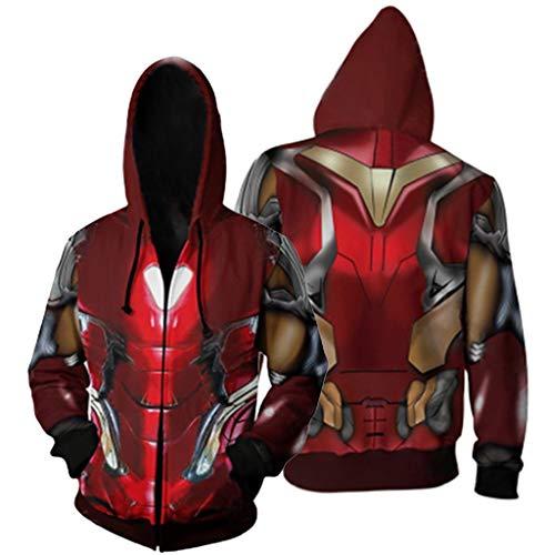 Größe Mardi Plus Kostüm Gra - K-Flame Reißverschluss mit Kapuze Sweatshirts 3D gedruckt Hoodies Herren mit Kordelzug Pullover Sportswear Erwachsene Cosplay Iron Man Kostüm,Red,2XL