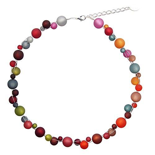 Halskette aus echten Polarisperlen ca. 45 cm + 4.5 cm PK1242 Regenbogen dunkel