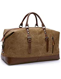 Large Capacity Canvas Weekender Bag, Portable Travel Shoulder Bag