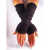 Armstulpen, lang - schwarz mit Organzarüsche