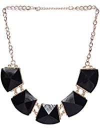 Shining Diva Fashion Jewellery Black Stone Modern Western Party Wear Necklace For Women Stylish Necklace For Girls
