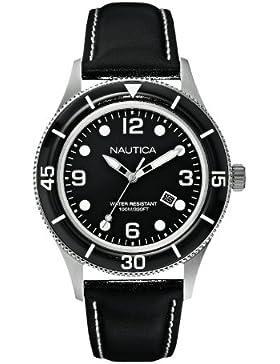 Nautica Herren-Armbanduhr XL Analog Quarz Leder A15641G