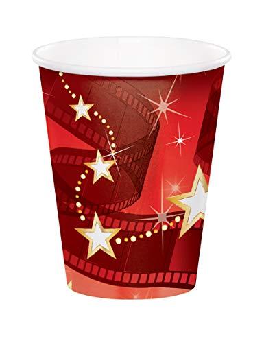 hollywood oder Abschlussball party-Roter Teppich Partybecher-Mittel den Abschlussball oder style in hollywood-Partys - 8 stabile Kunststoffbecher für kalte oder heiße Getränke oder Knabbereien.
