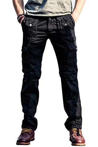 Vintage Chino (100% Baumwolle Casual Hosen für Herren Loose Fit Basic Cargo lang Hosen outdoor vintage Arbeitshosen von INFLATION,Schwarz,34)