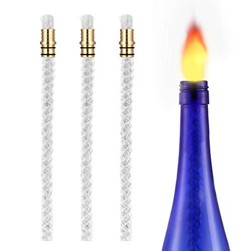 LANMU Docht Öllampe,Docht Fackel,Öllampe Einsatz,Glasfaserdocht,Ersatzdochte für Öllampen DIY Flasche Lampe Camping Outdoor Garten Deko. für Halloween (3 Pack, ohne Deckel)