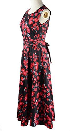 Eyekepper Vintage en tulle années 50 's Swing robe pour femme Imprimé Floral Noir - Noir