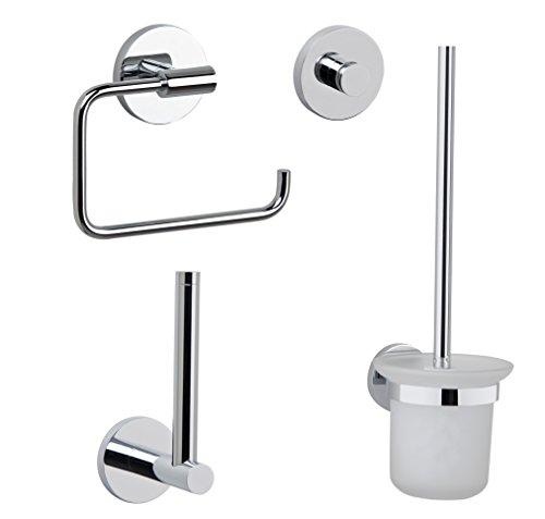 Grünblatt Hochwertige Gäste WC Bad Accessoires Set 4-in-1 aus massivem Messing verchromt Toiletpapierhalter