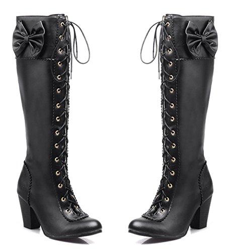 YE-Damen-Chunky-High-Heels-Kniehohe-Schnr-Stiefel-mit-Blockabsatz-und-Schleife-Reiverschlsse-Retro-Se-Herbst-Winter-Schuhe