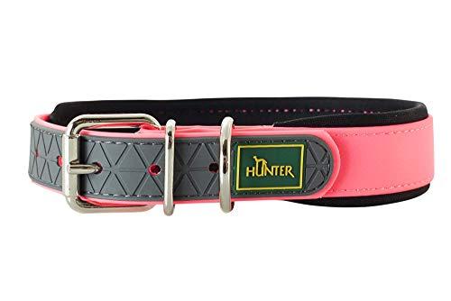 HUNTER Convenience Comfort Halsband für Hunde, Kunststoff, Neopren, wasserfest, schmutzabweisend, gepolstert, 45, neonpink
