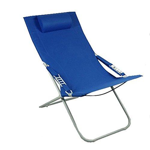 KFXL yizi Chaise pliante de toile simple de ménage/inclinable de siesta de bureau/chaise de plage portative extérieure/chaise de dossier de jardin de balcon (Couleur : Bleu)