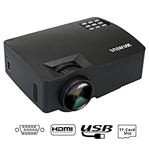 Mini Projecteur HD,Videoprojecteur LED Projecteur Video Portable 1500 Lumens 1080P Projector LCD 800*480 Home Cinema Compatible avec iPhone PC Smartphone iPad TV Jeux de Vidéo Xbox (Noir)