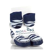 Mocc Ons Moccasin Slipper Socks Keeping Little Toes Warm! - Zebra Stripe