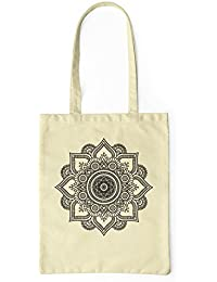 2f3dde2d2 LaMAGLIERIA Bolsa de Tela Mandala Black Print Man02 - Tote Bag Shopping Bag  100% algodón