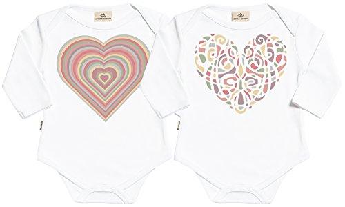 Warm Heart body gemelos bebé - ropa para gemelos bebé - regalo para gemelos bebé - Blanco - 0 meses
