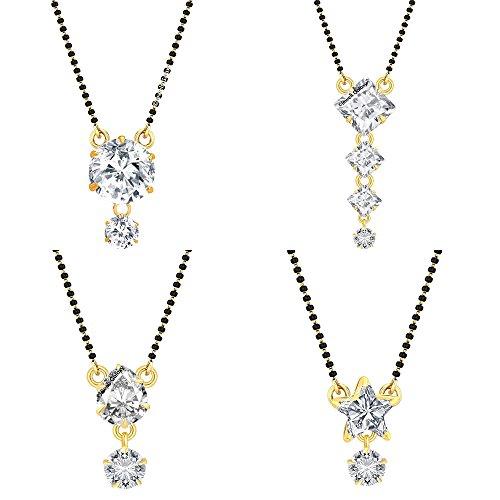 Jewels Galaxy Aaa American Diamond Mangalsutra Set For Women - Set Of 4