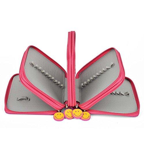 72Astuccio, Super grande capacità, Multi Strato studenti portapenne con matite colorate Organizer Wrap Custodia Rosa (Grande Binder)