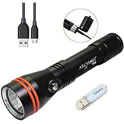ARCHON C10R Lampe de Plongée 1200 lumens CREE LED Lampe sous Marine Rechargeable USB sous l'eau 100 mètres, avec TIDUSKY USB Light