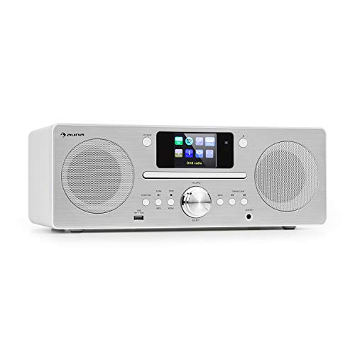 "auna Harvard IR Kompaktanlage, Internetradio, Bluetooth, USB, DAB+, CD-Player, UKW-Tuner, Retro-Design, WLAN, Spotify Connect, 2,4\"" HCC Display, UNDOK-App, weiß"