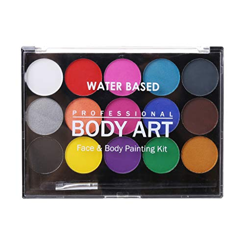 XXguang - 15 Farben ungiftig, wasserlöslich, Body Paint Pigmente Mal-Set mit Pinsel für Weihnachten, Karneval, Party
