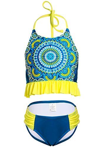 DUSISHIDAN Bandage BadeanzügeKinder Kinder, Zweiteiliger Mädchen Bikini, Gelbe Blume 134-146 M(8-10)
